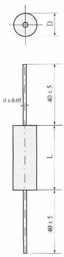 CL20型金属化聚酯膜介质直流固定轴向电容器尺寸图