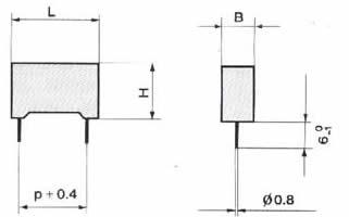 CBB24型金属化聚丙烯膜电容器尺寸图