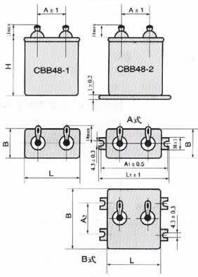 CBB48型交流金属化聚丙烯膜介质电容器尺寸图