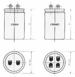 CBB60型金属化聚丙烯薄膜电容器尺寸图