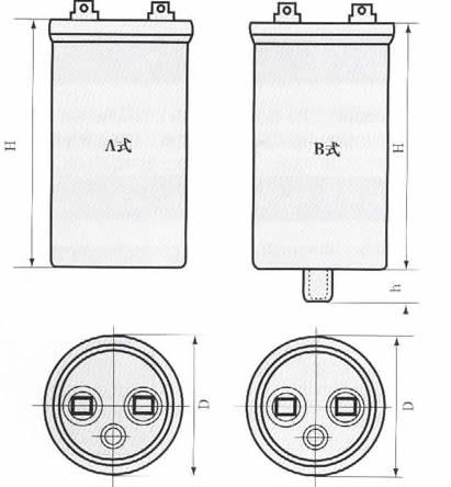 Cbb65型金属化聚丙烯薄膜电容器尺寸图