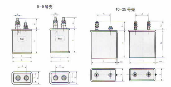 CH82型高压密封复合介质电容器尺寸图