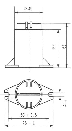 CBB80A型高压交流金属化聚丙烯介质电容器尺寸图
